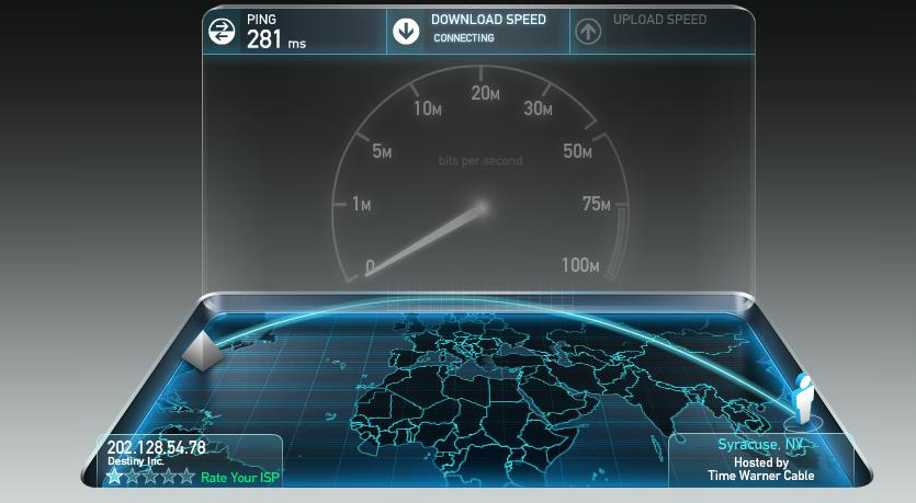 How do I use speedtest net to determine actual Internet speed for